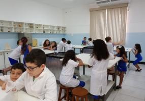 Aula prática no laboratório com as turmas do 4º ano sobre fungos